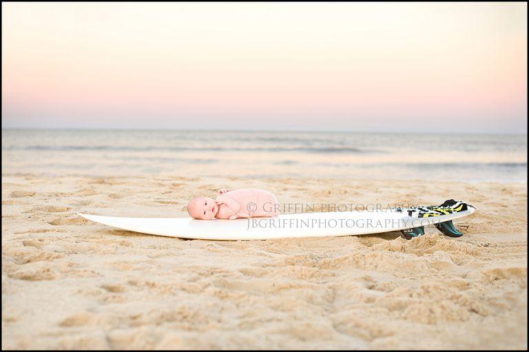 virginia beach newborn photographer baby surfboard oceanfront