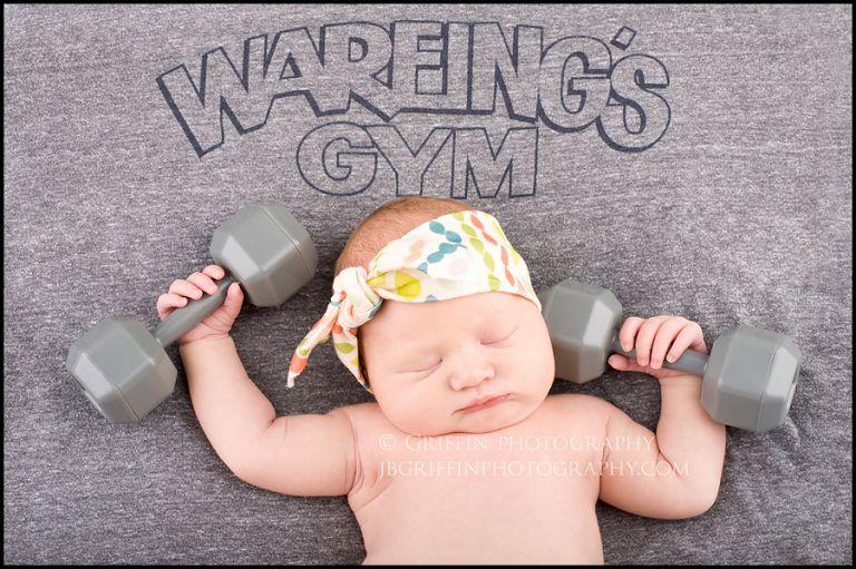 virginia beach newborn photographer studio baby weights gym lift