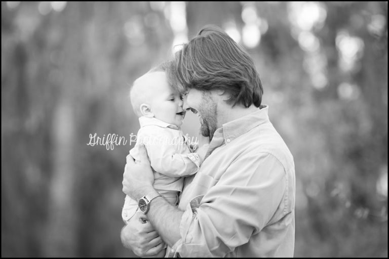 hampton roads outdoor family portrait dad baby woods